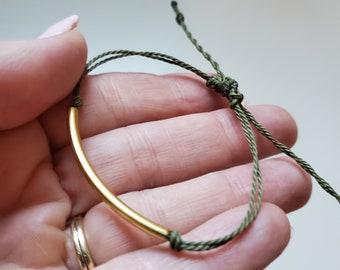 Simple Gold and Olive Green Bracelet - Wax String Adjustable Bracelet