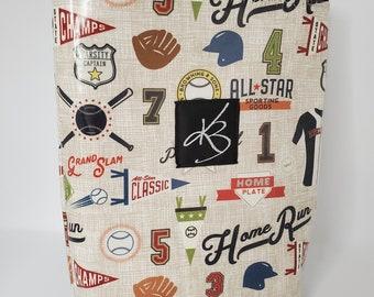 Small Travel Caddy, Baseball Print Laminated Cotton Fabric, Car Organizer, Travel Car Accessories for Women, Child's Bag