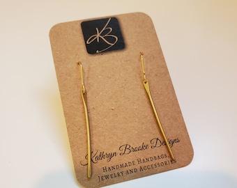 Raw Brass Dangle Earrings, Simple Thin Bar Lightweight Earrings, Women's Earrings