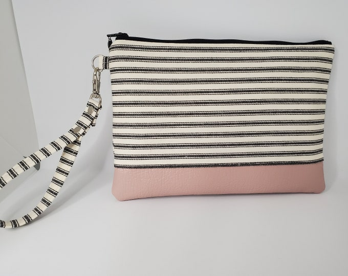 Featured listing image: Vegan Leather and Cotton Wristlet, Black/White Striped Cotton and Pale Pink Faux Leather, Option to Convert to Crossbody, Handbag Shop