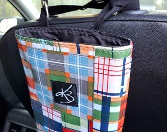 Small Travel Caddy, Plaid Print Laminated Cotton Fabric, Car Organizer, Stroller Caddy, Car Caddy, Walker Caddy