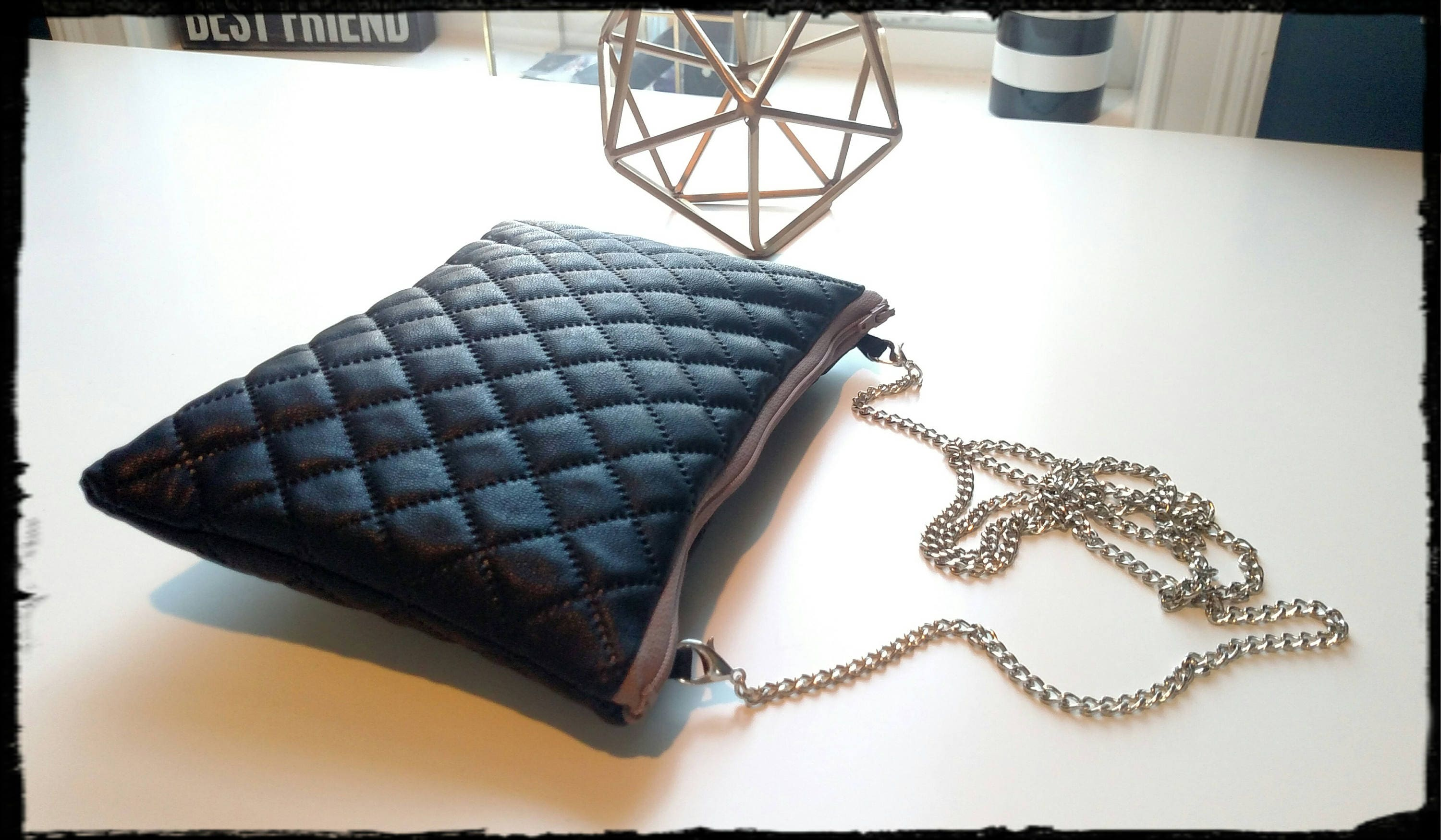 ed3d8cabfba7 Black Quilted Faux Leather Crossbody Bag/Clutch with Removable ...