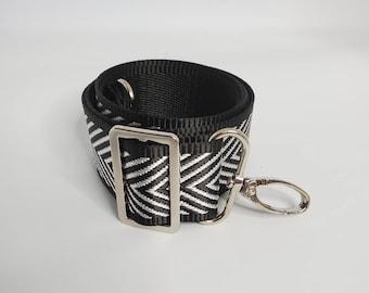 "Adjustable Bag Strap, Black and Silver Chevron 1.5"" Cotton Crossbody Purse Strap29"" - 51"" Length/Camera Strap/Adjustable Length"