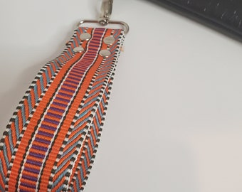 """Wristlet Handle, Orange and MultiColored Webbing - 1.5"""" Swivel Hook, Travel Key Chain, Choose from Silver or Gold Hardware"""