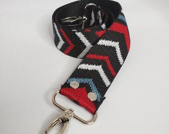 """Multi Color Chevron Print Shoulder Bag Strap, 29"""" Strap, Black and White 1.5 Off """" Cotton Webbing,  Purse Strap"""