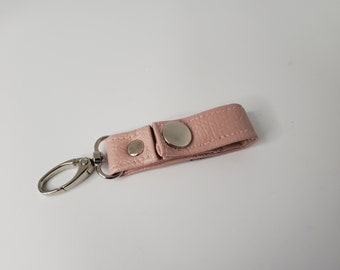 Small Pale Pink Vegan Leather Key Chain  - Pink Faux Leather - Snap Closure - Great Gift Idea - Birthday Gift or Graduation Gift