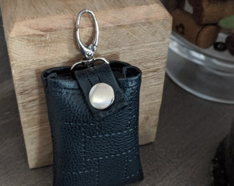 Vegan Leather Key Chain Card Case - Key Chain Accessory - Credit Card Case - Handmade Accessory - Textured Navy Blue Faux Leather