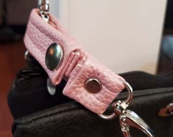 Small Pink Vegan Leather Key Chain  - Pink Faux Leather - Snap Closure - Great Gift Idea - Birthday Gift or Graduation Gift