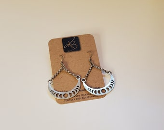 Pewter Intricate Half Moon Design Dangle Earrings, Gold Tone and Raw Brass Earrings