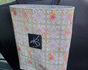 Small Travel Caddy, Pink and Green Floral Laminated Cotton Fabric, Car Organizer, Travel Car Accessories for Women