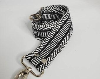 "Black and White Shoulder Bag Strap, 29"" Strap, Black and White 1.5"" Cotton Webbing,  Purse Strap"