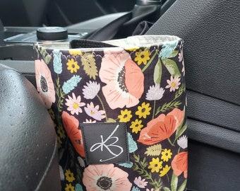 Small Travel Caddy, Multi Bloom Floral Print Laminated Cotton Fabric, Car Organizer, Stroller Caddy, Car Caddy, Walker Caddy