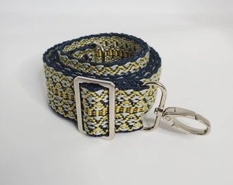 "Adjustable Bag Strap, Blue and Yellow 1.5"" Cotton Crossbody Purse Strap29"" - 51"" Length/Camera Strap/Adjustable Length"