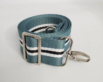 "Adjustable Bag Strap, Blue/Green, Black and White Striped, 1.5"" Cotton Crossbody Purse Strap29"" - 51"" Length/Camera Strap/Adjustable Length"
