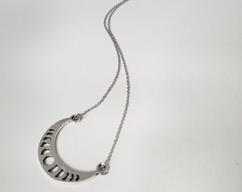 Pewter Intricate Half Moon Design Necklace, Stainless Steel Chain Necklace
