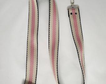 "Adjustable Bag Strap, Pink and Black Stripe 1.5"" Cotton Webbing Purse Strap29"" - 55"" Length, Long Strap"