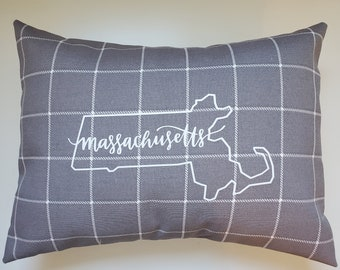 Nebraska through Wyoming - Gray and White Your State/Zip Code Pillow -  Neutral Color Pillow - Home Decor Pillow - Indoor/Outdoor Pillow