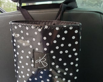 Small Travel Caddy, Black and White Polka Dot Print Laminated Cotton Fabric, Car Organizer, Travel Car Accessories for Women