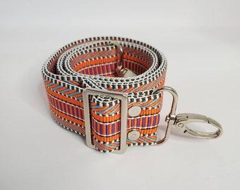 "Adjustable Bag Strap, Orange/Multi Color, 1.5"" Cotton Crossbody Purse Strap29"" - 51"" Length/Camera Strap/Adjustable Length"