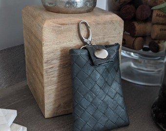 Vegan Leather Key Chain Card Case - Key Chain Accessory - Handmade Gift - Gift for All Ages - Textured Granite Gray Faux Leather