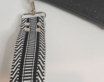 """Wristlet Handle,  Black and White Webbing - 1.5"""" Swivel Hook, Travel Key ChainChoose from Silver or Gold Hardware"""