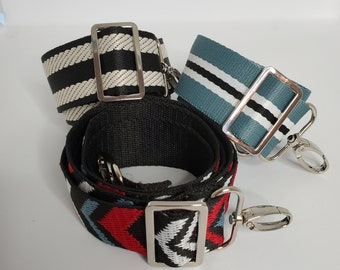 Adjustable Bag Strap Bundle, Chevron and Stripes, Three Replacement Straps, Straps for Bag or Camera