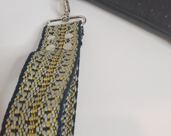 """Wristlet Handle,, Blue and Yellow Cotton Webbing - 1.5"""" Swivel Hook, Travel Key Chain, Choose from Silver or Gold Hardware"""