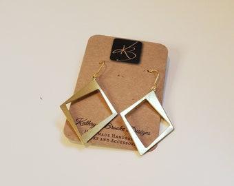 Raw Brass Dangle Earrings, Diamond Shape and Lightweight Earrings, Women's Earrings
