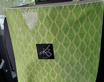 Large Travel Caddy, Green Laminated Cotton Fabric, Car Organizer, Travel Car Accessories for Women