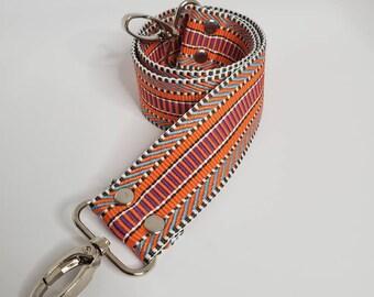 "Orange and MultiColor Shoulder Bag Strap, 29"" Strap,  1.5"" Cotton Webbing,  Purse Strap"