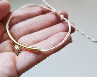 Simple Gold and Cream Bracelet - Wax String Adjustable Bracelet
