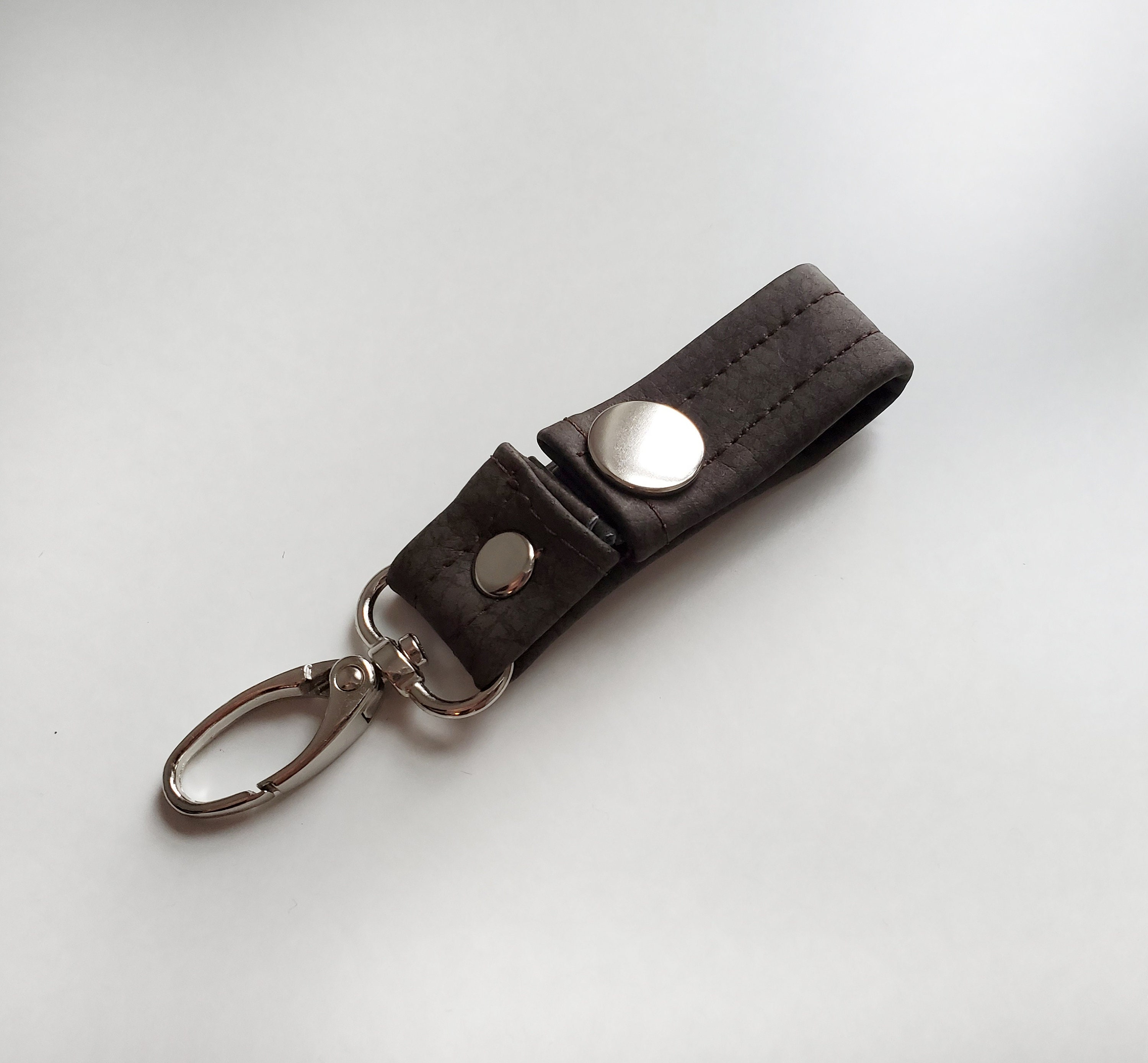 Birthday Gift or Graduation Gift Snap Closure Brown Faux Leather Great Gift Idea Chocolate Brown Vegan Leather Key Chain