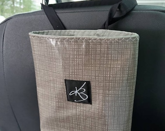 Small Travel Caddy, Gray Laminated Cotton Fabric, Car Organizer, Travel Car Accessories for Women