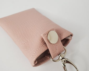 Vegan Leather Key Chain Card Case, Pale Pink Vegan Leather, Key Chain Accessory, Credit Card Case, Handmade Accessory