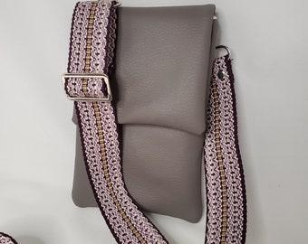 Silky Gray Vegan Leather Small Crossbody/Shoulder Bag with Purple Adjustable Strap, Vegan Leather Handmade Crossbody Bag, Handbag Shop