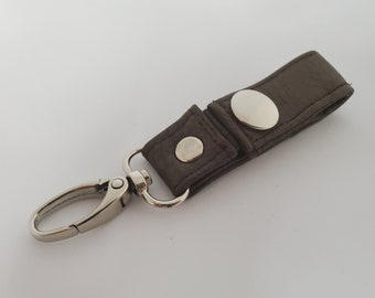 Small Chocolate Brown Vegan Leather Key Chain  - Brown Faux Leather - Snap Closure - Great Gift Idea - Birthday Gift or Graduation Gift