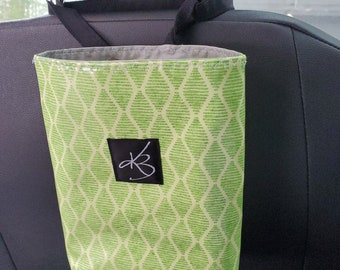 Small Travel Caddy, Lime Green Print Laminated Cotton Fabric, Car Organizer, Travel Car Accessories for Women