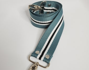 "Green, Black and White Striped Shoulder Bag Strap, 29"" Strap, Black and White 1.5"" Cotton Webbing,  Purse Strap"
