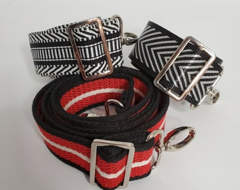 Adjustable Bag Strap Bundle, Black, White and Red Everywhere, Three Replacement Straps, Straps for Bag or Camera