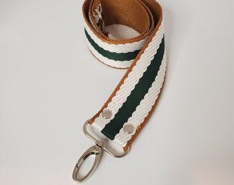 "Hunter Green, Natural and White Striped Shoulder Bag Strap, 29"" Strap, 1.5"" Cotton Webbing,  Purse Strap"