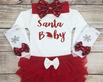 santa baby christmas outfit baby girl christmas clothes baby girl christmas bodysuit my 1st christmas baby xmas shirt santa baby outfit