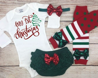 my 1st christmas baby girl christmas outfit infant christmas clothes xmas newborn coming home my first christmas baby girl