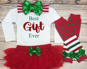 best gift ever baby girl christmas outfit baby girl christmas clothes christmas baby girl bodysuit my 1st christmas best gift ever shirt - Best Christmas Gift Ever