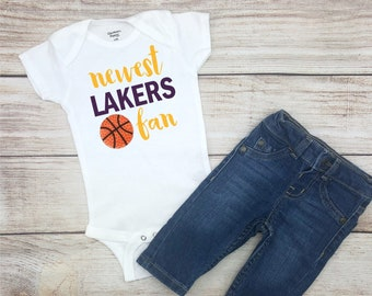 a5180c2a5c8 Newest Lakers Fan, Lakers Basketball Bodysuit, Lakers Baby Outfit, Unisex Lakers  Baby Clothes, Lakers Baby Shirt
