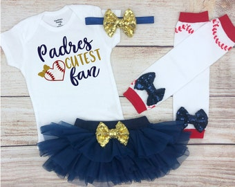 def35ee1 Padres Cutest Fan, Baby Girl Baseball Outfit, Baseball Baby Clothes, Newborn  Baseball Baby Girl Outfit, Sparkly Baseball Outfit