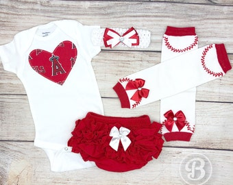 c368b957e Los Angeles Angels of Anaheim Baby Girl Game Day Outfit