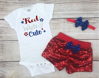 c011e630981 Red White and Cute Baby Girl 4th of July Outfit