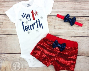 8ab91daab My 1st Fourth of July Baby Girl Outfit, 4th of July Baby Girl Clothes, My  First 4th of July Baby Girl Outfit, Independence Day Baby Bodysuit
