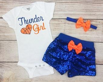 Thunder baby gift Oklahoma City basketball OKC Thunder basketball Cutest Thunder fan baby bodysuit