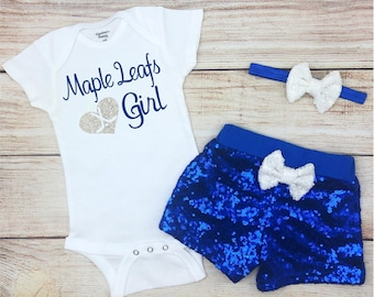 Ice & Roller Hockey Team Sports Nhl Toronto Maple Leafs Bodysuit Romper Jumpsuit Outfits 3 Piece Set Newborn